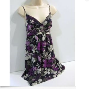 Elle Purple Gray Floral Baby Doll Dress Size 4 S